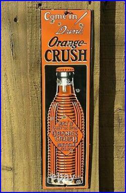 Vintage Orange Crush Porcelain Metal Sign Soda Pop Oil Station Gas Pump Beverage
