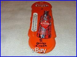 Vintage Orange Crush Soda Pop 18 Porcelain Metal Gasoline Oil Thermometer Sign