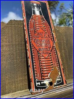 Vintage Orange crush soda bottle Porcelain Metal Sign Gas Station Pop Patina