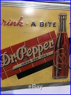 Vintage Original 1930's Dr. Pepper Embossed Metal Store Sign Drink a Bite to Eat