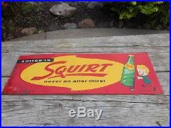 Vintage Original 1956 SQUIRT SODA POP Metal Advertising Sign w Bottle & BOY