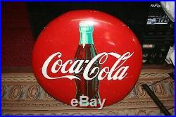Vintage Original 24 Round Coca Cola Coke Bottle Metal Advertising Button Sign
