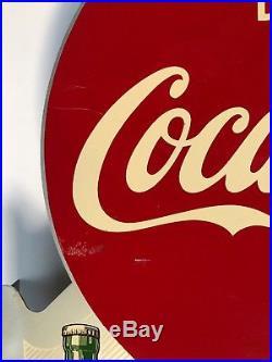 Vintage Original Advertising Coca-Cola Coke Metal Flange Sign 1956