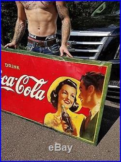Vintage Original Coca Cola Soda Pop Metal Sign Coke WOW GR8 Graphics 56X33