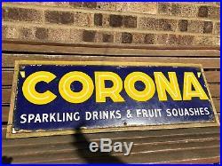 Vintage Original Corona Soft Drink Pop Shop Vendor Advertising Enamel Metal Sign