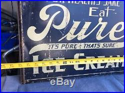 Vintage Original EAT PURE ICE CREAM Painted Metal Double Sided Adverising Sign