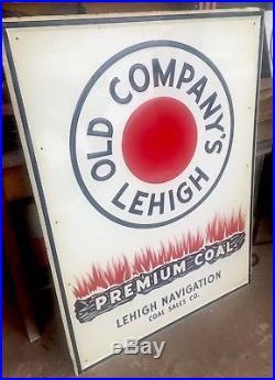 Vintage Original Embossed Metal Advertising Sign Old Company Lehigh Coal 4ft