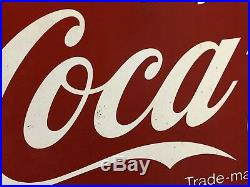 Vintage Original Enjoy Coca Cola Sign Authentic Large Metal Sign 36 x 24 AM96