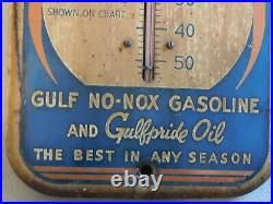 Vintage Original Gulf No-nox Gasoline Metal Sign With Working Thermometer, Nice