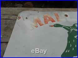 Vintage Original MALLARD Duck SEED CORN FARM FEED DEALER Metal Advertising SIGN