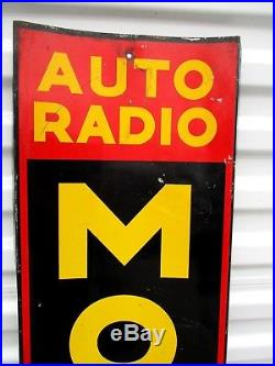 Vintage Original MOTOROLA SIGN Auto Radio Home Radio Metal CURVED Advertising