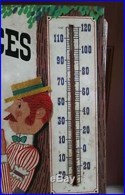 Vintage Original Metal PABST Blue Ribbon Beer Sign PBR Thermometer Man Fishing