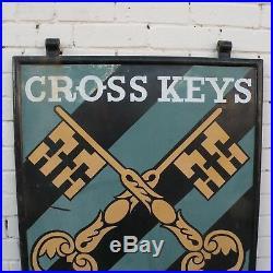 Vintage Original Metal Pub Sign Greene King Cross Keys c. 1950s