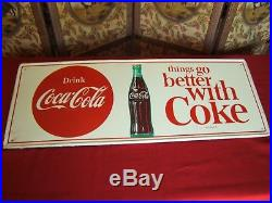 Vintage Original RARE 1950's Coca Cola 32 Metal Sign VERY STRONG GRAPHICS