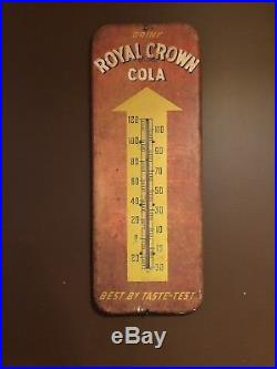 Vintage Original Rc Royal Crown Cola Thermometer Metal Soda Sign