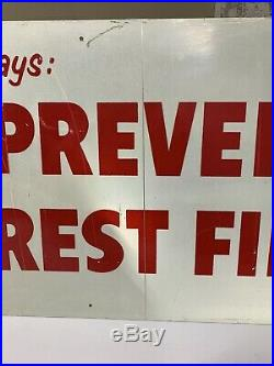 Vintage Original Smokey The Bear Prevent Forest Fires Metal Sign