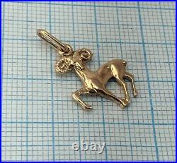 Vintage Original Soviet Rose Gold Pendant Zodiac Sign Aries 585 14K USSR