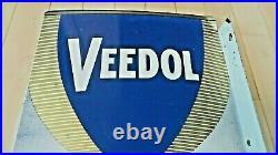 Vintage Original Veedol Flying A Motor Oil Double Sided Metal Flange Sign