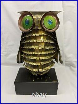 Vintage Owl Metal Art Sculpture signed by C. Jere' 1970, Mid-Century Modern 17