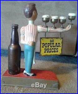 Vintage PABST BLUE RIBBON BEER Bartender Waiter Metal Bar Display Sign