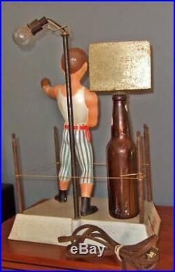 Vintage Pabst Blue Ribbon 3-D boxer metal display signlights up