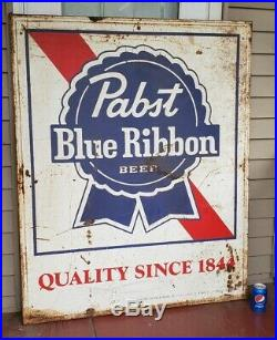 Vintage Pabst Blue Ribbon Beer PBR Large Metal Sign 52x42 Rusty Hipster 1966