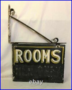 Vintage Painted Sheet Metal Sign Diminutive Size Rooms Men Only
