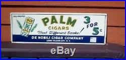 Vintage Palm Tobacco Metal Cigar Sign Pipe Cigarette Tin Can Graphic Near Mint
