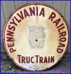 Vintage Pennsylvania Railroad Truc Train Porcelain Metal Sign 48