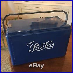 Vintage Pepsi Cola Cooler Metal HTF 1950s Blue Cronstroms Picnic Embossed Sign