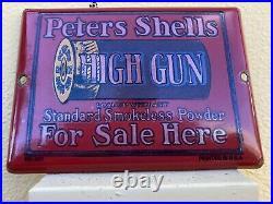 Vintage Peters Shells High Gun Porcelain Sign Metal Oil Gas Shotgun Firearm Ammo