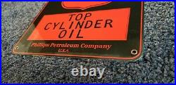 Vintage Phillips 66 Gasoline Porcelain Porcelain Looking Metal Gas Oil Sign
