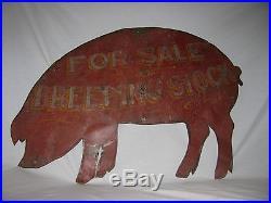 Vintage Pig Breeders Painted Folk Art Sheet Metal Sign