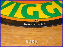 Vintage Piggly Wiggly Grocery Store 11 3/4 Porcelain Metal Pig, Gasoline Sign