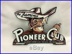 Vintage Pioneer Club Las Vegas Nevada Cowboy Metal License Plate Topper Sign