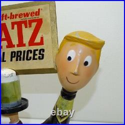 Vintage Platso Mfg 1950s Blatz Beer Running Waiter Cast Metal Sign Statue