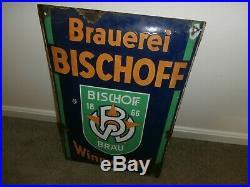 Vintage Porcelain Metal German Brewery Beer Sign Bischoff Brauerei Winnweiler