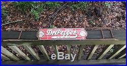 Vintage Porcelain Red Brick Dr Pepper Soda Pop Gas Station Metal Door Push Sign
