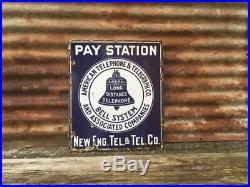 Vintage Porcelain Sign AT&T Bell telephone Metal Flange Sign Phone New England
