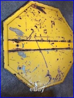 Vintage Pre 1954 Yellow Metal Stop Sign Embossed Edges Heavy