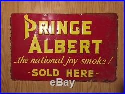 Vintage Prince Albert Metal Sign Smoke Tobacco Tobacciana advertising 1930s rare