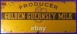 Vintage Producer Golden Guernsey Milk Metal Sign 2 Sided Heavy Metal 20 Dairy