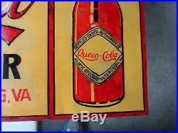 Vintage Queen Cola Embossed Metal Sign All Original Atlantic Bev Petersburg, Va