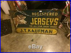 Vintage RARE Double Sided Metal Jerseys COW Dairy Farm Sign AWESOME! WOW