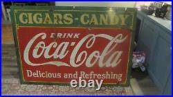 Vintage RARE Size Coca-Cola Metal Sign 1933 GAS OIL SODA COLA cigars candy