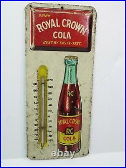Vintage RC Royal Crown Cola Metal Advertising Soda Thermometer Sign 13.5