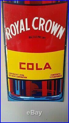 Vintage RC Royal Crown Cola Soda Pop Bottle 58×15 1/2 Embossed Metal Sign Nehi