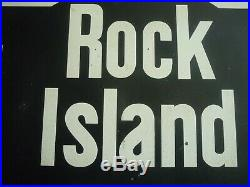 Vintage ROCK ISLAND Metal RAILROAD SIGN L@@K