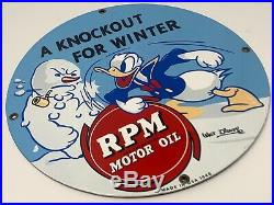 Vintage RPM Motor Oil Donald Duck Advertising Porcelain Metal Sign Dated 1940