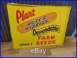 Vintage RUFF'S HYBRID SEED FARM Double Sided Metal Flange Sign, 1965 NOS